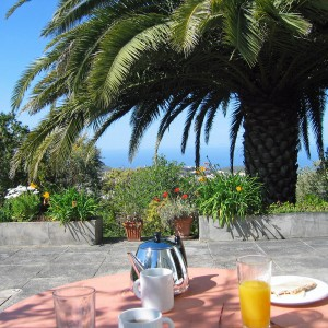 Breakfast on the terrace of Casa Pedregales with sea views